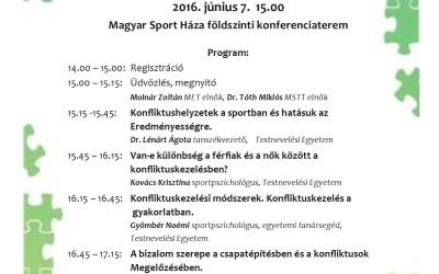 Konfliktuskezelés a sportban konferencia 2016.június. 7.