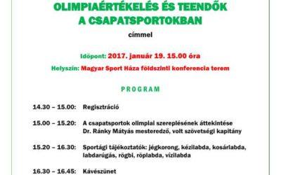 Olimpia értékelés és teendők a csapatsportokban – szakmai konferencia 2017.január.19.