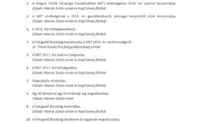 Meghívó a MET 2017. évi rendes közgyűlésére      közzétéve: 2017.március.4.