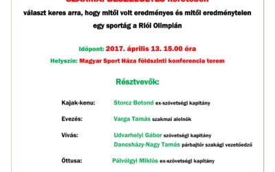 Szakmai beszélgetés – olimpiai értékelés: kajak-kenu, evezés, vívás, öttusa,  április.13.