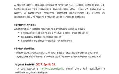 """Pályázati felhívás az """"ICCE Global  Coach Conference""""-n való részvételre"""