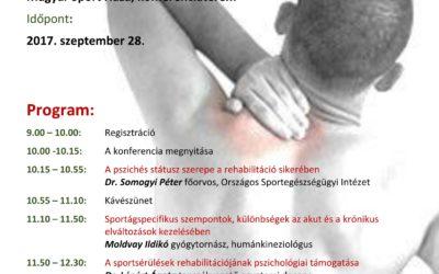 Sportsérülések rehabilitációjának pszichológiai támogatása konferencia szeptember 28.