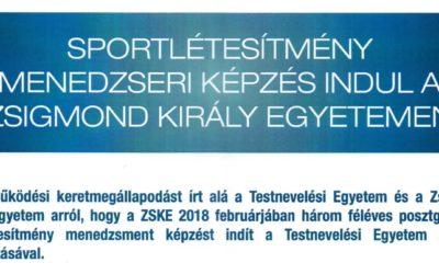 Sportlétesítmény menedzseri képzés indul a Zsigmond Király Egyetemen