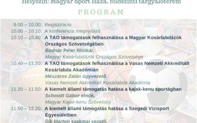 Az állami sporttámogatások felhasználásának hatékonysága konferencia 2018.szeptember.11.